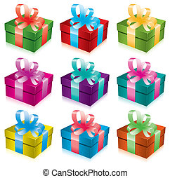gift boxes with bow and ribbon