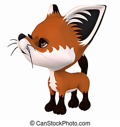 Toon Red Fox - 3d render of a toon red fox