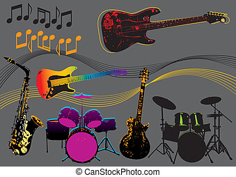 Music Instruments - Music instruments vector set, image is...