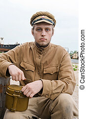 Soldier with boiler in retro style picture - Soldier with a...