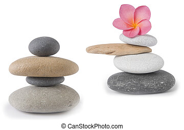 Zen Stacks - Two zen , stone stacks, one with a pink...