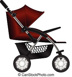 baby carriage - Layered illustration set of baby carriage in...