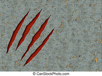 Monster claws - Horizontal background - metal, ripped...
