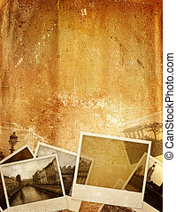 Memories - Grunge background with old photos and paper...