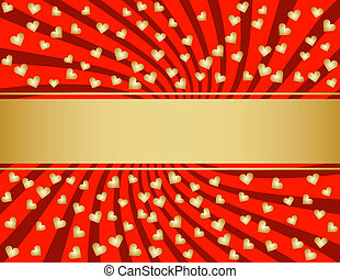 Red and Golden Valentines Day Background