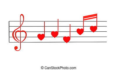 Love song - Red treble clef with notes stylized for...