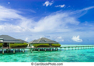Tropical resort stilt houses Trop - Buildings at a luxurious...