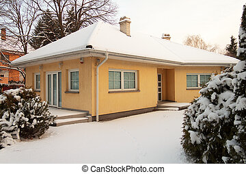 House in winter - snow - Shot of typical European house in...