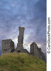 Ancient castle ruins on hill