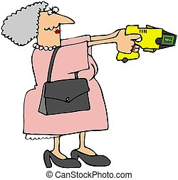 Grandma With A Stun Gun - This illustration depicts an...
