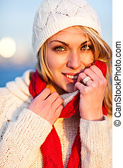 Winter woman - A shot of a beautiful caucasian winter woman...
