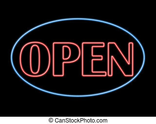 Open neon sign in blue and red