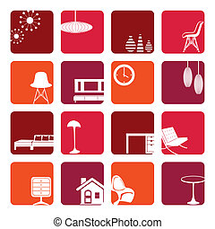 Interior Red Ornaments set - Illustration vector