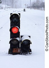 train stoplight - small train stoplight in the snowy...