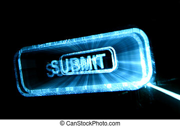 submit button - abstract submit neon button in dark