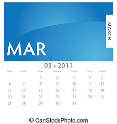 March Calendar - An image of a 2011 March calendar.