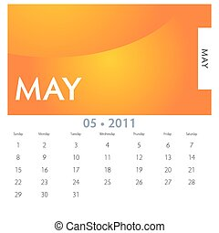 May Calendar - An image of a 2011 May calendar