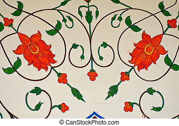 decoration on ancient walls of jaipur - ancient floral...
