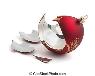 Broken Christmas ball - Broken red glass Christmas ball...