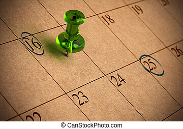 Calendar with numbers, green thumbtack, recycled paper