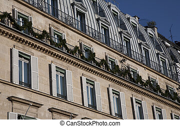 Facade in Paris Prepared for Christmas