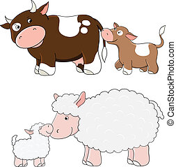 Vector farm animals - Vector cows and sheep. Farm animals...
