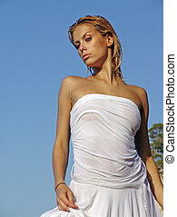 young sexy girl in a wet dress - young sexy girl in a wet...