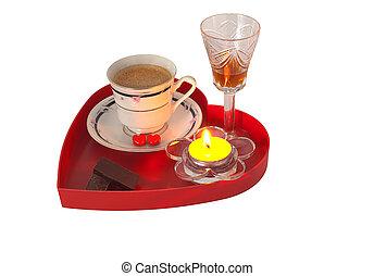 Images de bonbons, bougie, plateau, romantique - Red, bougie, dans ...
