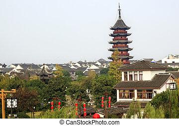 Ancient Chinese Ruigang Pagoda Rooftops Apartments Suzhou...