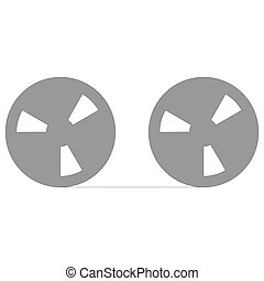 Tape reel symbol for computer data storage or audio...