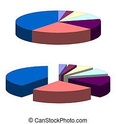 Pie chart - 3D Pie chart graph illustration isolated over...