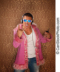 Man in Pink Jacket Listens to Music - Excited Native...