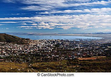cape town city - aerial view of Cape Town city, South...
