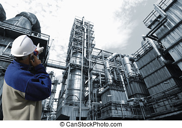 industry plant and worker - engineer, worker pointing at...
