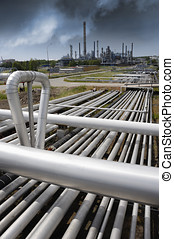 pipelines leading to oil-refinery - giant pipelines...