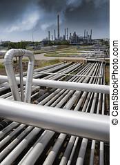 tuberías, primero, oil-refinery