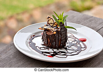 chocolate mousse dessert - beatifully decorated chocolate...
