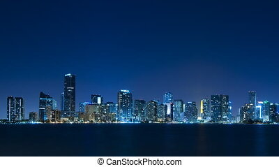 Time lapse of Miami skyline - long - Time lapse of the Miami...