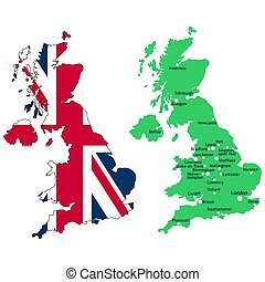 UK map - Map of the UK with union jack flag and major towns