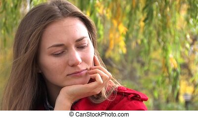 Thoughtful Young woman - Portrait of Thoughtful Young woman,...