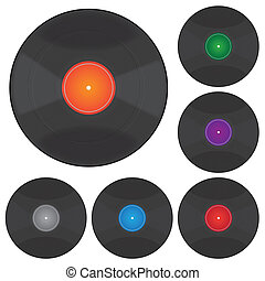 Records - Image of various colorful vinyl albums isolated on...