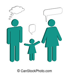 Family Chat Bubbles - Illustration of a family with chat...