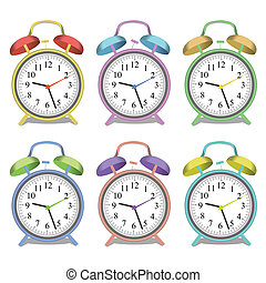 Image of various colorful alarm clocks isolated on a white background.