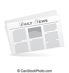 Image of a newspaper isolated on a white background.