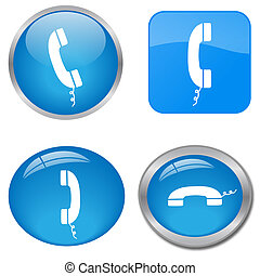 Image of various colorful blue phone web icons isolated on a white background.