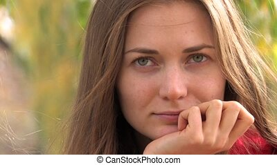 Pensive look of Beautiful Young Woman, closeup, Canon XH A1,...