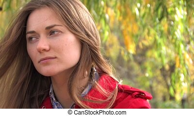Pensive smile of Young Woman, closeup, Canon XH A1, 1080p,...