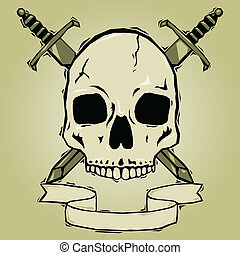 Skull with swords woodcut