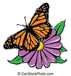 Woodcut butterfly on flower - Monarch butterfly resting on a...