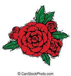 woodcut roses - Red rose corsage with leaves in woodcut...